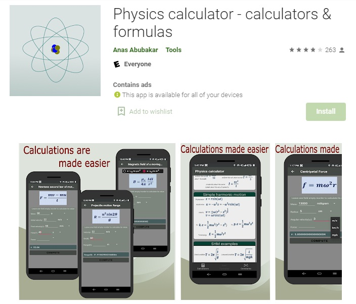 Physics calculator - calculators & formulas